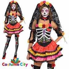 Adult Womens Mexican Day Of The Dead Senorita Fancy Dress Party Costume