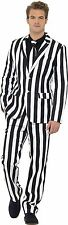 Adult Deluxe Stand Out Suit Black White Striped Beetlejuice Costume Humbug Suit