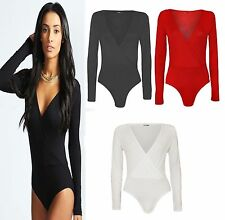 New women Ladies Long Sleeve Wrap Front Stretch Bodysuit Women Top UK Size 8-14