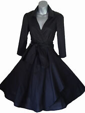 50'S STYLE ROCKABILLY PINUP SWING WRAP EVENING PARTY DRESS SIZES 6 - 26