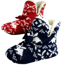 Girls Nordic Rabbit Red Navy Knit Fleece Lined Bootie Bow House Slippers