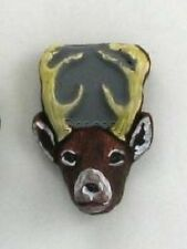 Deer Head Ceramic Animal Beads, 26mm, Choice of Lot Size & Price, Hand Painted