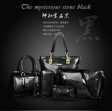 Fashion women Crocodile leather handbag shoulder bag large tote satchel 6Pcs/set