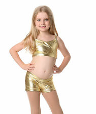 Children's Camisole Crop Top, Studio 7 NEW, GOLD & SILVER, PURPLE & RED Metallic