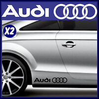 AUDI - CAR VINYL STICKERS  X 2 - RINGS LOGO -  CAR GRAPHICS - DECALS - BODY MOD