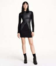 H&M Trend Conscious Divided Turtleneck Faux Leather Jersey Dress sz XS S M L
