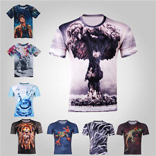 Men Women Sexy Funny Vintage 3D Print Animal Space Galaxy Round Top Tee T Shirt