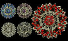 LARGE RED CLEAR BLUE LILAC WEDDING RHINESTONE CRYSTAL FLOWER VINTAGE LOOK BROOCH