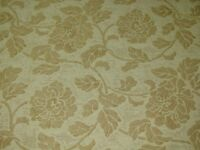 KRAVET DESIGN'S CREAM AND TAN FLORAL UPHOLSTERY FABRIC-2 3/8 YD