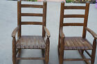 Vintage Kids Childrens Wooden Rocking Chairs Rockers Set of 2