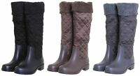 Janni & Janni Ladies Quilted Wellies Wellington Style Biker Army Winter Boots