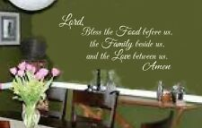 Lord Bless the Food vinyl lettering wall decal sticker faith dining area kitchen
