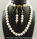 New Necklace Earrings set 17in real pearls gold plated
