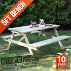 NEW STURDY 5FT WOODEN PRESSURE TREATED PICNIC BENCH PUB TABLE