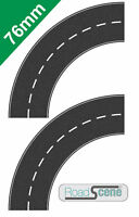 2x Small Curved 76mm Road to suit 00 Gauge Hornby etc. Self Adhesive Vinyl