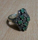 925 STERLING SILVER GREEN EMERALD & MARCASITE BAND RING (US 6.75 UK N)9.0g