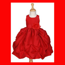 RED TAFFETA WEDDING FLOWER GIRL DRESS 2 3 4 5 6 7 8 10