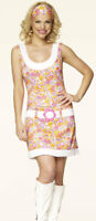 GO GO GIRL 60'S/70'S FANCY DRESS OUTFIT COSTUME SIZE: M (10-12)