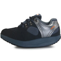 Mens Sports Walking Running Leather Navy Shoes