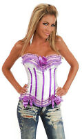 *SALE* Sexy Burlesque White & Purple Corset Basque Top *REDUCED TO CLEAR*