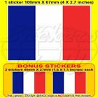 "FRANCE French Flag 100mm (4"") Bumper Sticker x1+2 BONUS"