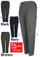 Ladies Half Elastic Waist Trousers Sizes 8 10 12 14 16 18 20 22 24 26 Polyester