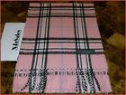 100% CASHMERE Pink Blue White Black Plaid SCARF Made in SCOTLAND X-Mass Sale B3