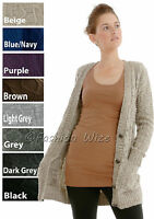 Ladies Knitted Cable Grandad Style  Size  8 10 12 14  Long Womens Cardigan Top