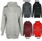 Ladies Fleece Jacket Military Trench Coat Button Hooded Size 8 10 12 14 16 18