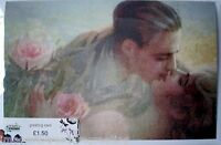 New GREETING CARD w image of a vintage postcard w lovers kissing + roses