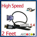 NEW 2' (feet) Premium High Speed HDMI 1.4 3D CABLE FOR PS3 HDTV Blu Ray Apple TV