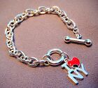 I Love (heart) New York Charm Bracelet-Strong Silvertone Chain -7 1/2 Inches