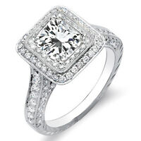 2.31 Ct Radiant Cut w/ Round Cut Dual Halo Diamond Engagement 14K Ring E,VS2 GIA