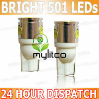 2 x Number Plate LED Bulb T10 [501, W5W] Capless Bright White Car Lights 12v