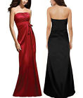 New Shirring Bust Shinning Satin Cocktail Formal Bridesmaid Dress Evening Gown