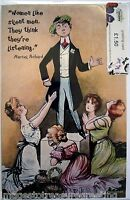 New GREETING CARD w image of women worshipping a man, from a vintage postcard