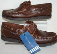 YACHTSMAN REAL LEATHER MENS SEAFARER BROWN LACE UP DECK SHOE 7 8 9 10 1112 13 14