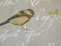 Designer Fabric French Linen Garden Birds Script Natural Curtain Upholstery