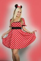 Sexy Womens Halloween ladies Minnie Mouse Fancy Dress Costume outfit 8-14