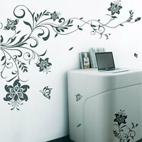 Large Vine Flowers Butterfly Tree  Art  Wall Stickers / Wall decals / Wall Mural