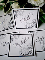 Personalised Handmade Wedding Table Number / Name Cards Double Sided ANY COLOUR