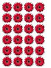 """30 x Red Gerbera Flowers 1.5"""" Edible Cup Cake Toppers Decorations"""