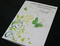 LARGE Handmade Personalised GREEN BUTTERFLY Birthday Card16th 21st 20th 30th..