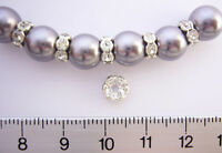 50 SILVER PLATED / SP CLEAR CRYSTAL /GLASS RHINESTONE RONDELLE SPACER BEADS 6mm