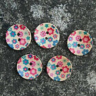 5 Zakka Painted Mini Floral Wooden Sewing Buttons - Size:25mm