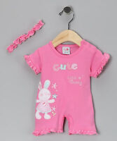 A BABY GIRLS DARK PINK BUNNY RUFFLE ROMPER WITH HEADBAND - 2 SIZES
