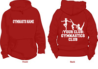 GYMNASTICS HOODIE PERSONALISED WITH YOUR CLUB NAME & GYMNASTS NAME ADULT & KIDS