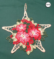 New Chemical Lace Schiffli Christmas Hanging Decoration Floral Star XP40