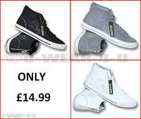 MENS CROSSHATCH CANVAS HIGH TOP TRAINERS, GREY, WHITE, BLACK. 7,8,9,10,11