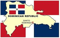 DOMINICAN REPUBLIC MAP & FLAG - NOVELTY - SOUVENIR FRIDGE MAGNET - BRAND NEW